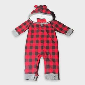Red Plaid Hooded One Piece Sleeper